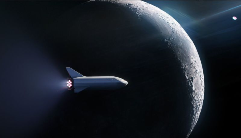 Concept illustration of the Big Falcon Spaceship flying around the Moon.