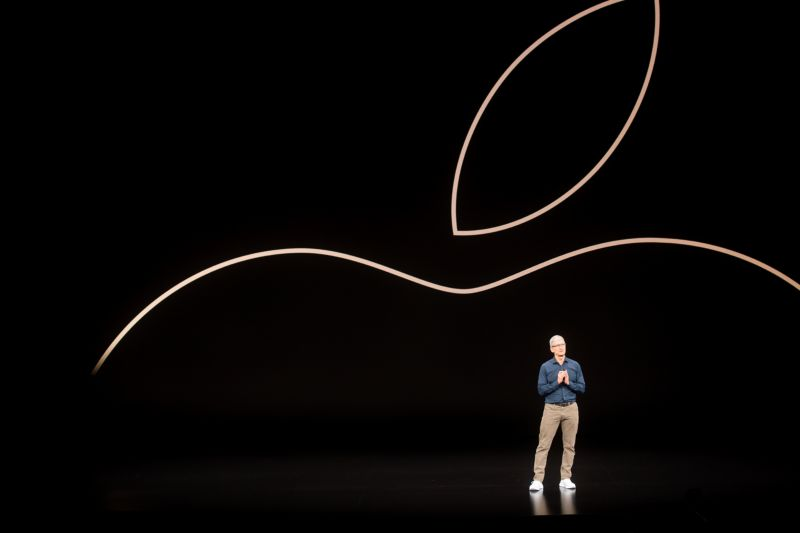 Apple CEO Tim Cook speaks during a product launch event on September 12, 2018, in Cupertino, Calif.