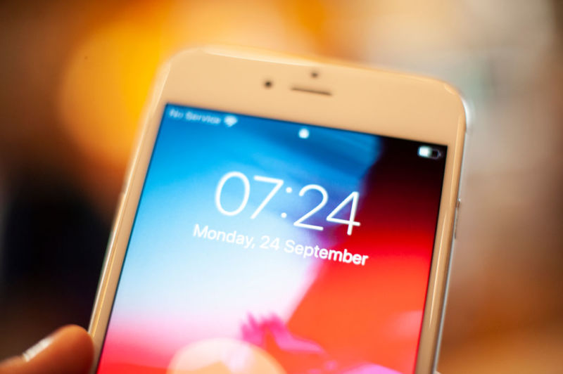 An Apple iPhone lock screen is seen in this