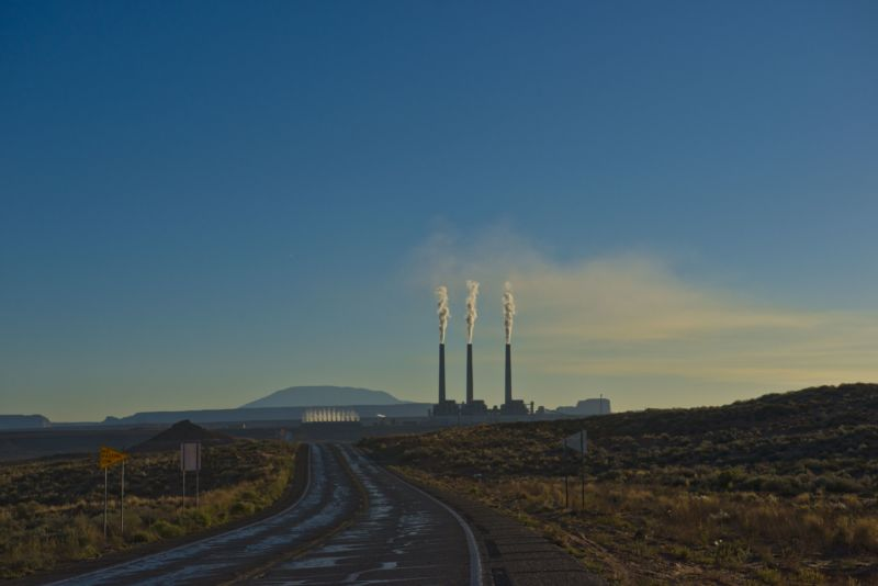 Navajo Generating Station and Navajo Mountain. (Photo by: Education Images/UIG via Getty Images)