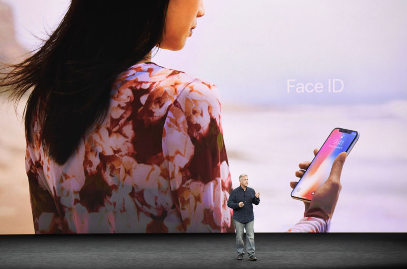 Phil Schiller, senior vice president of worldwide marketing at Apple Inc., speaks about Face ID for the iPhone X during an event at the Steve Jobs Theater in Cupertino, California, on Sept. 12, 2017.