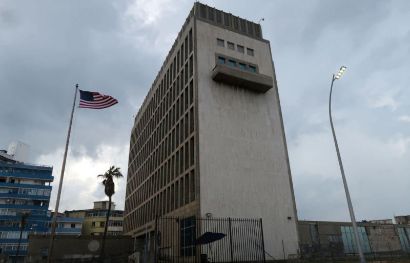 The US flag flies outside the US Embassy on October 14, 2017 in Havana, Cuba. US intelligence agencies now suspect Russia is responsible for what appear to have been directed microwave attacks on US embassy personnel in Havana and in China.