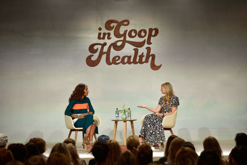 Janet Mock and Gwyneth Paltrow (right) speak onstage at the In goop Health Summit at 3Labs on June 9, 2018 in Culver City, California.