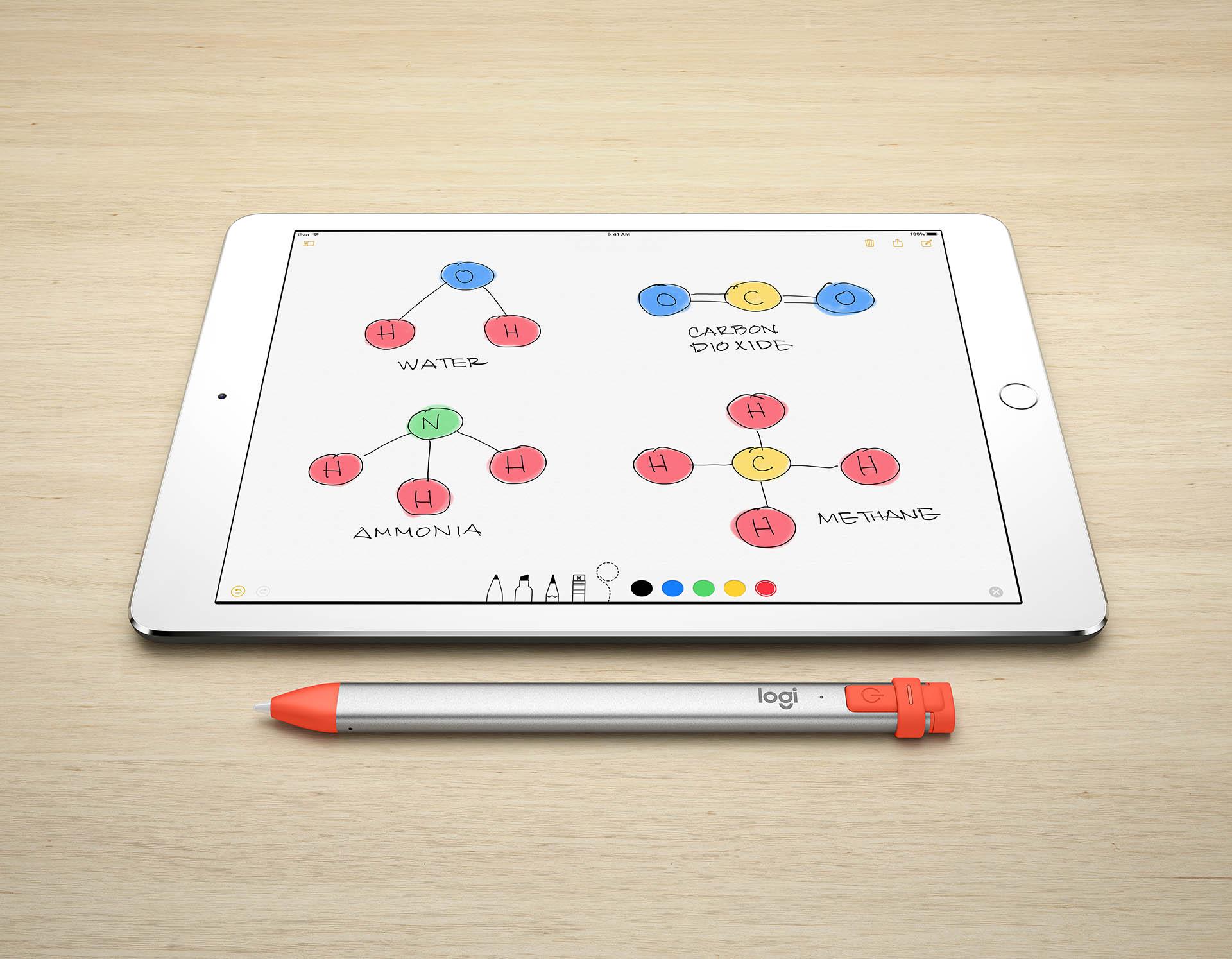 The Logitech Crayon stylus.
