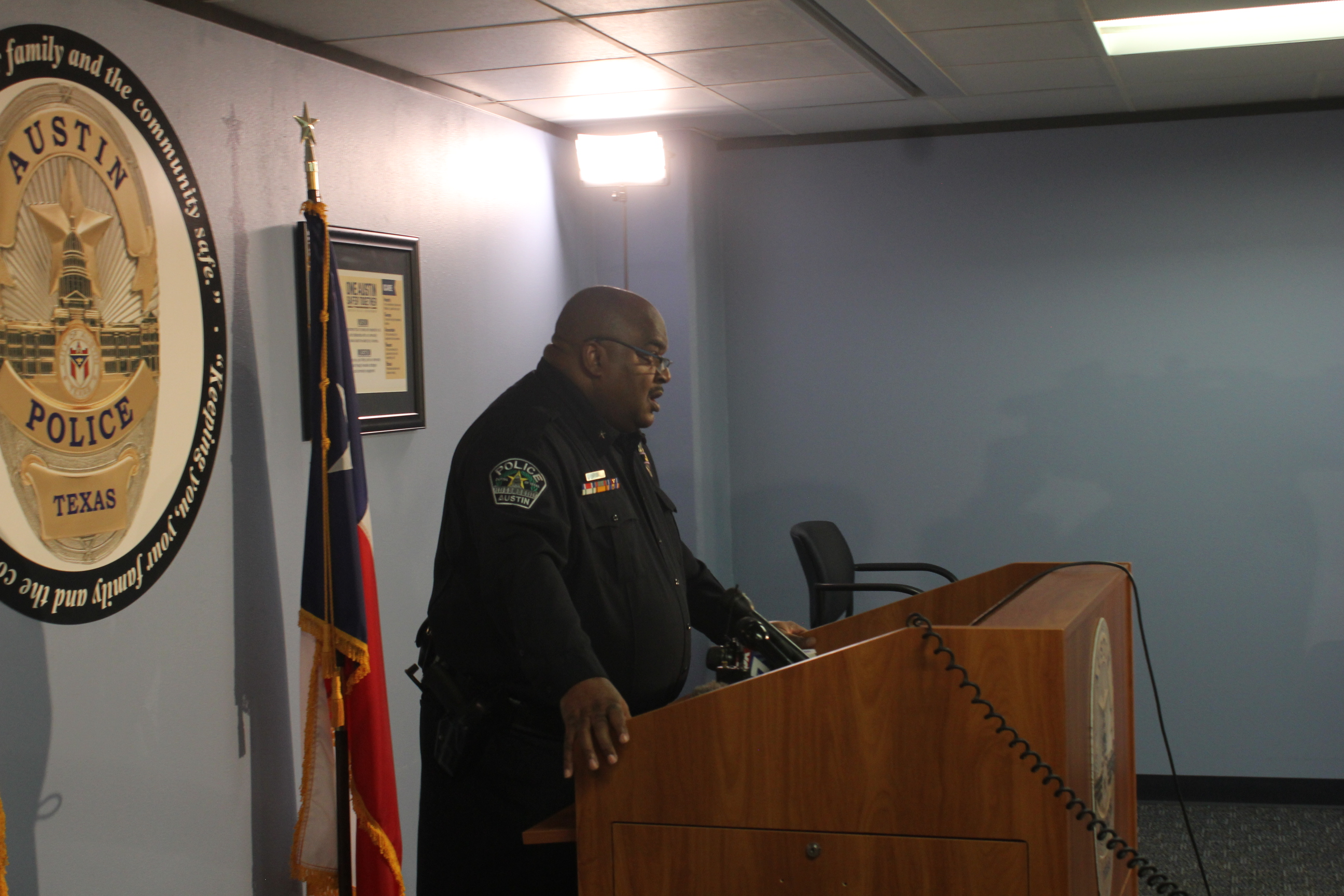 APD's Cmdr. Troy Officer speaks to the press about a new warrant regarding child sexual assault allegations against Defense Distributed founder Cody Wilson.