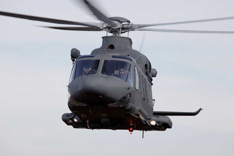 A military version of the Leonardo AW139 flown by the Qatar Emiri Air Force. A US version, built in partership with Boeing, has won the US Air Force's nuclear security helicopter competition.