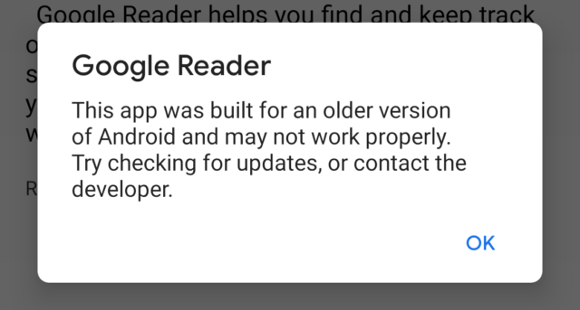 Old Android apps will now get this pop-up warning on first launch.