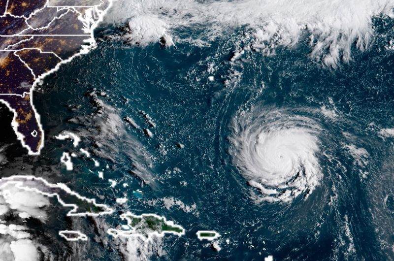 Hurricane Florence on NOAA's GOES satellite in 2018.