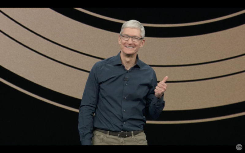 Tim Cook, feeling good about the new products and updates Apple announced.
