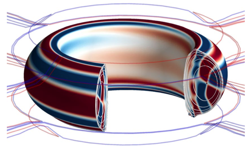 Red and blue lines around the donut-shaped Tokamak indicating positive and negative currents. Inside Tokamak the magnetic field is shown as a set of nested tubes around the donut.