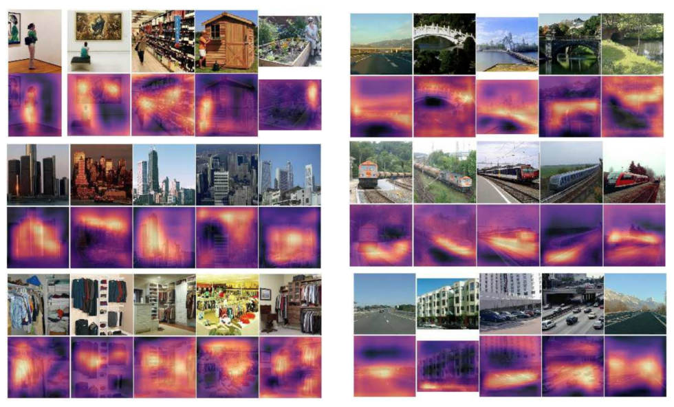 "Clockwise from the top-left, the MIT software generates heatmaps for images matching ""woman,"" ""bridge,"" ""train,"" ""vehicles,"" ""clothes,"" and ""skyline,"" respectively."