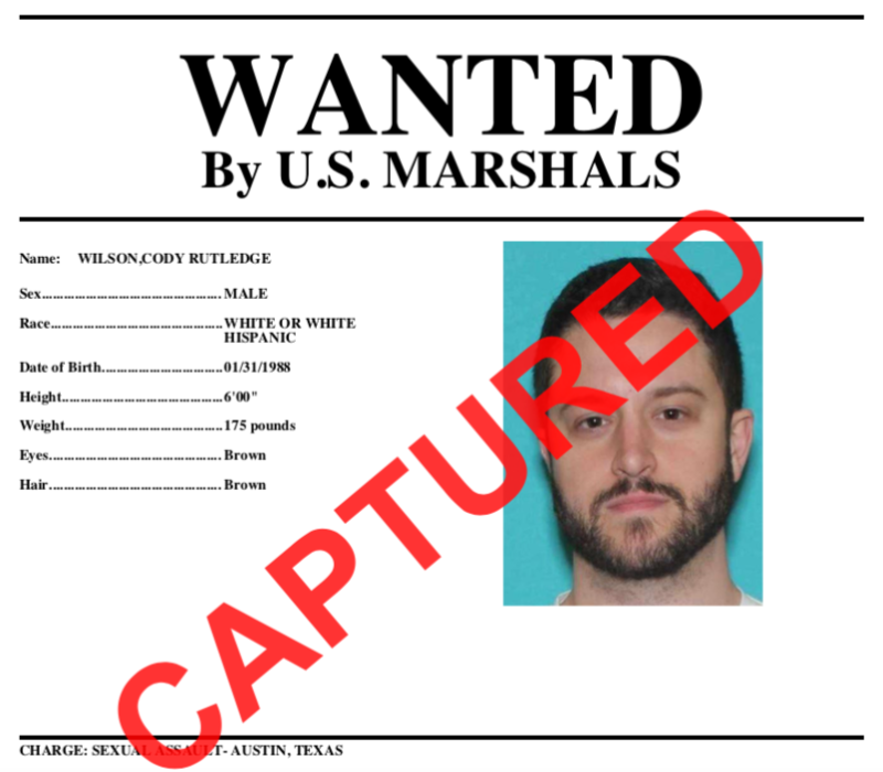 The US Marshals sent this updated wanted poster to media when Wilson was finally apprehended following his time <a href=