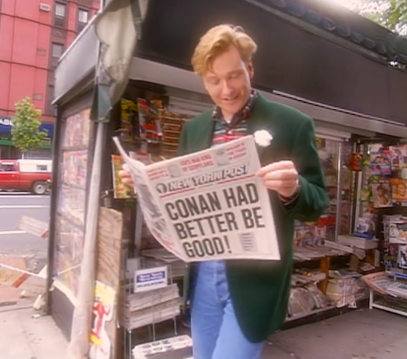 <em>Late Night with Conan O'Brien</em>'s very first episode began with a lengthy skit about how much pressure he faced as David Letterman's replacement.