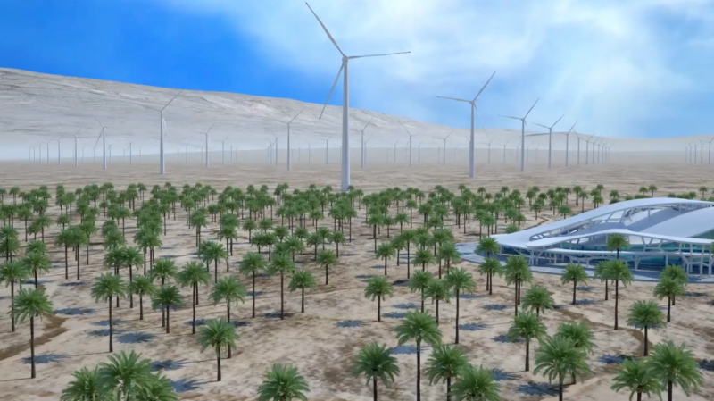 A rendering of wind turbines and a computing center in Morocco