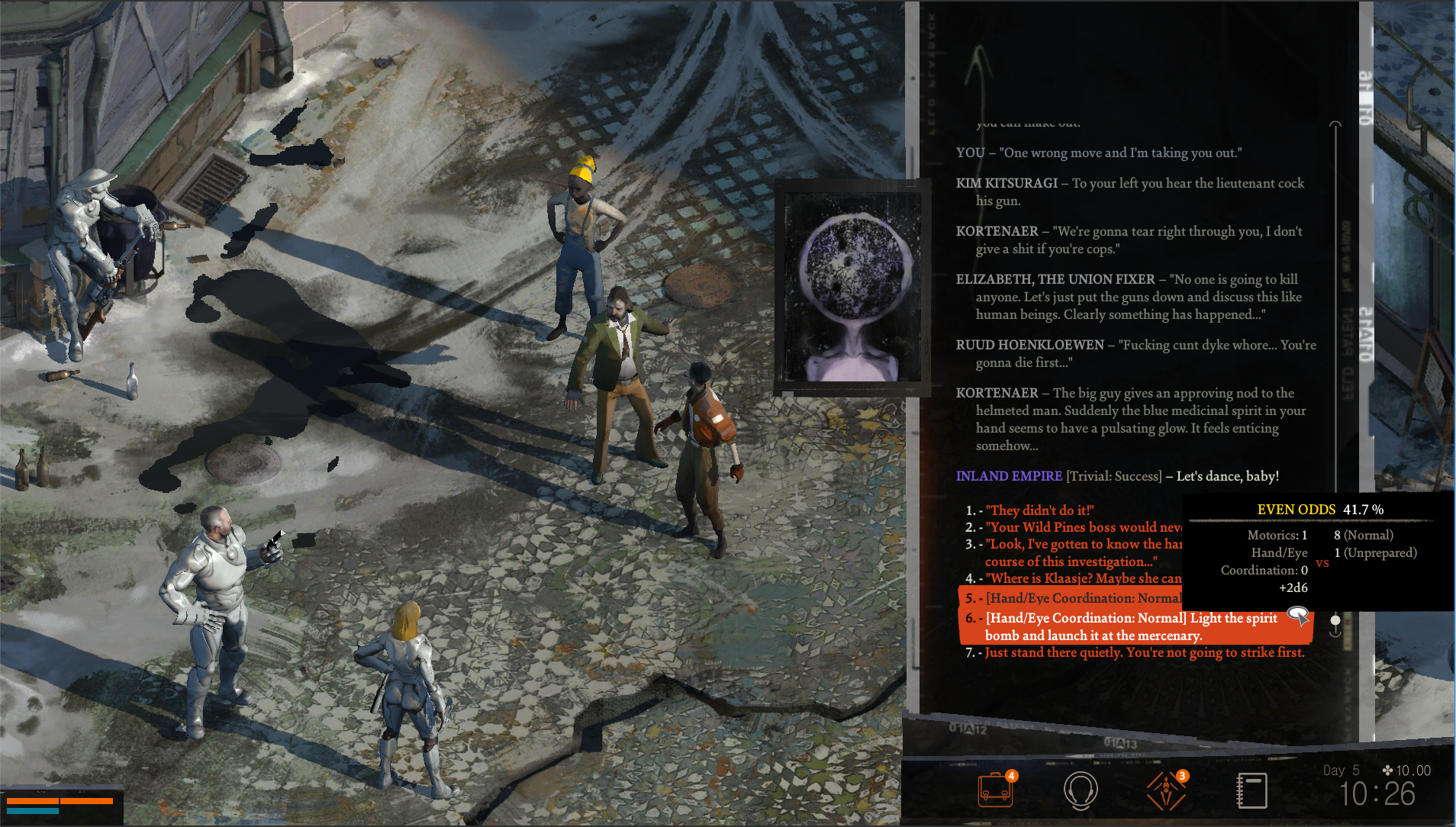 Everything in <em>Disco Elysium</em>—from basic chats to melee encounters—hinges on dialogue and on D&amp;D-like dice rolls.