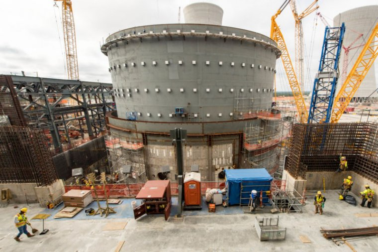 A reactor under construction at the Vogtle nuclear plant