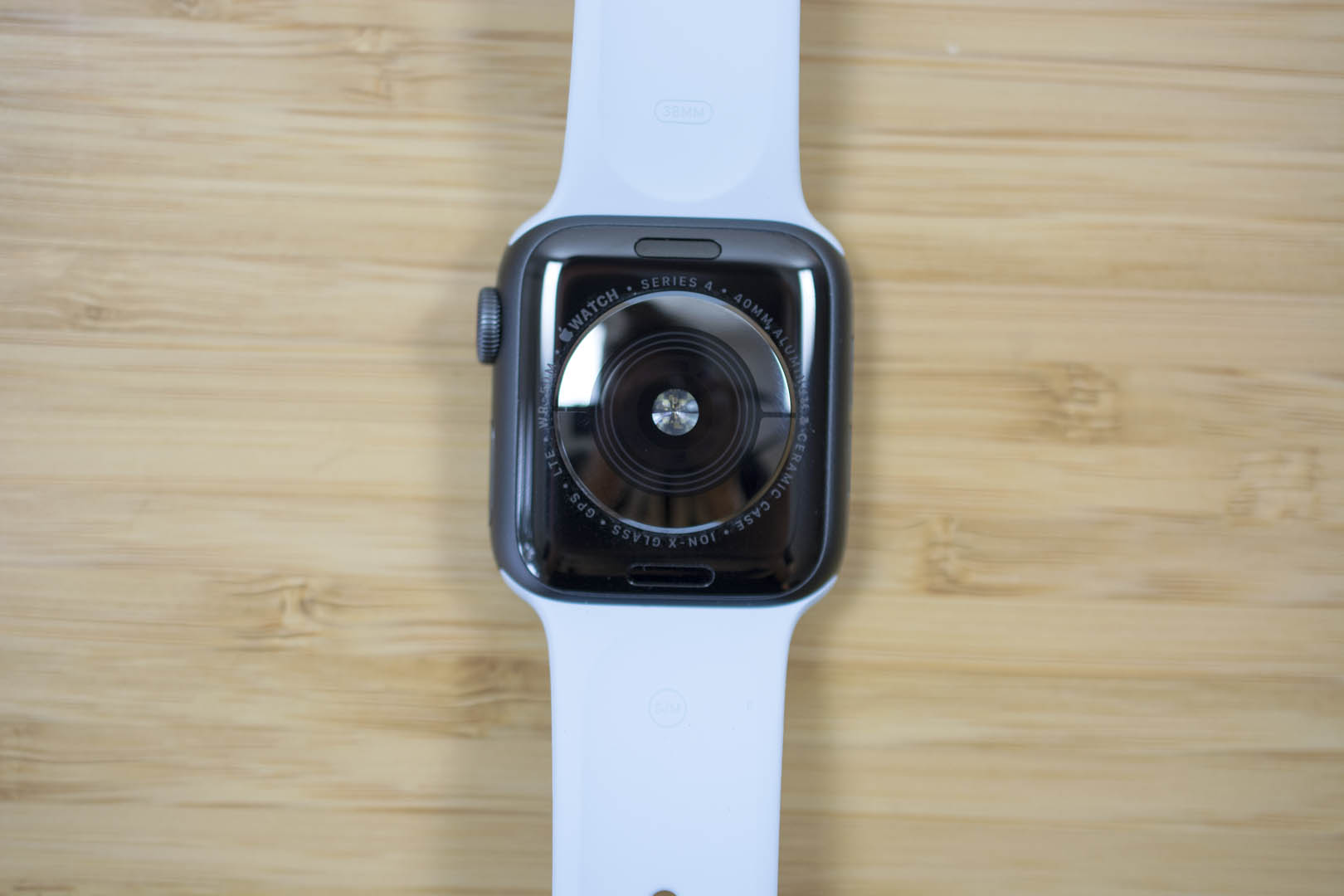 The underside of the Apple Watch Series 4 has an electrode circle for measuring ECG readings, in addition to the optical heart rate monitor.