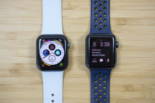 A 40mm Apple Watch Series 4 next to a 38mm Apple Watch Series 3.