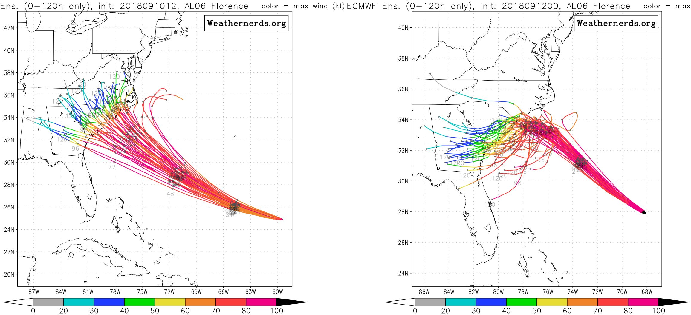 European ensemble forecast for Monday morning (left) and Tuesday night (right).
