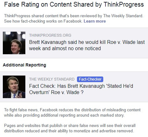 Notification sent by Facebook about the false rating given to ThinkProgress.