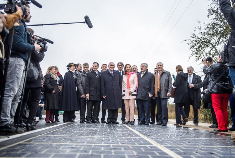 The solar road is unveiled in Tourouvre au Perche.