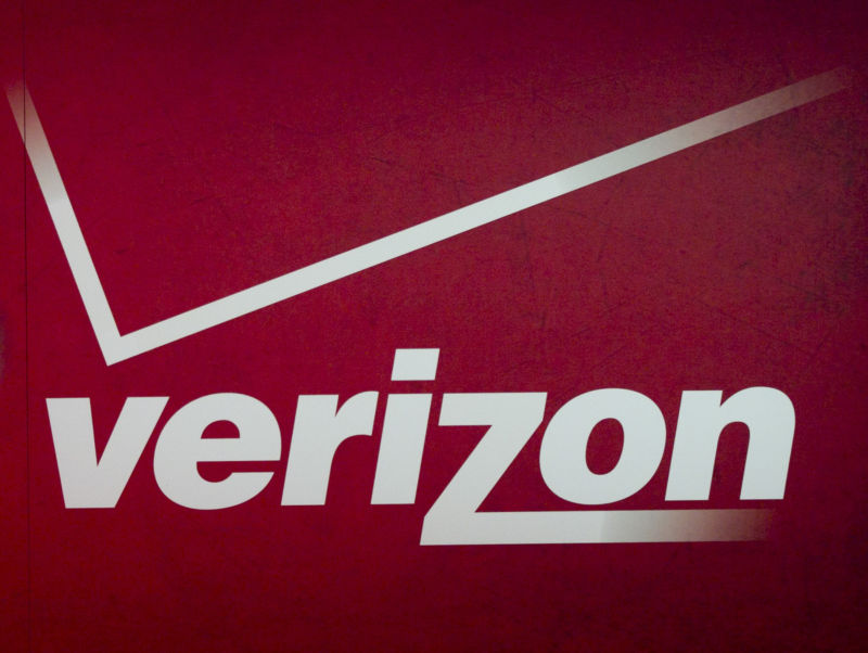 A Verizon logo at the 2012 Consumer Electronics Show in Las Vegas.