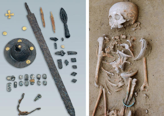 Two-sided image. At left, grave goods; at right, a skeleton.
