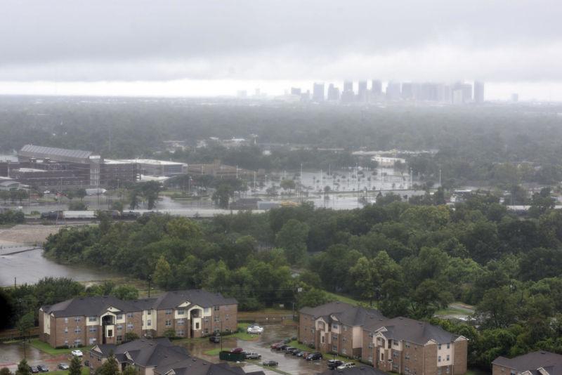 Houston skyline during Hurricane Harvey.