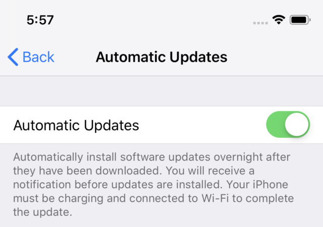 Here's the toggle switch for enabling automatic software updates, with Apple's related explanation.
