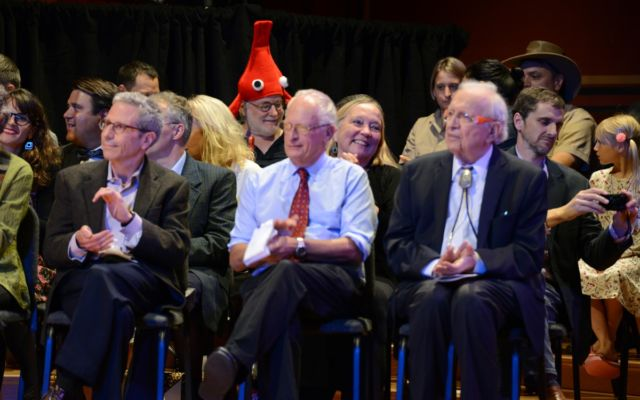 Several bona fide Nobel laureates also attend the ceremonies each year. The 2017 Nobel guests included (l-r) Eric Maskin, Oliver Hart, and Roy Glauser.