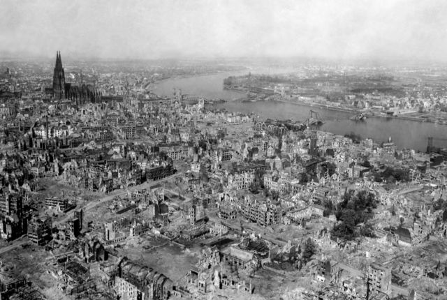 Bombing of a factory at Marienburg, Germany, on October 9, 1943. Somehow the Kölner Dom (Cologne Cathedral) survived.
