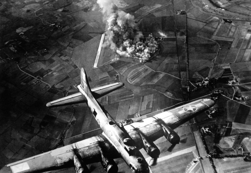 Bombing of a factory at Marienburg, Germany, on October 9, 1943.