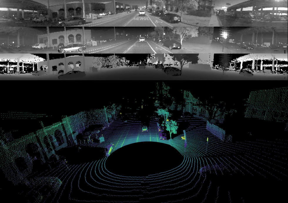 "An example of a three-layer image captured by camera and a lidar system from Ouster. The top image shows ambient light, the middle one shows reflected laser light, and the bottom one provides depth readings. Below that is a three-dimensional render of the traditional lidar ""point cloud"" format."