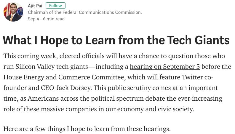 FCC Chairman Ajit Pai's blog.