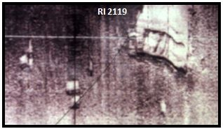 This 1993 sonar image captured a modern barge sunk on top of a ballast pile from one the ships scuttled in 1778.