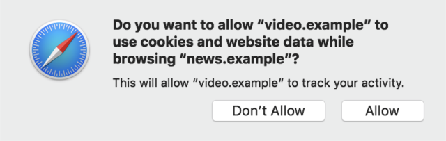 In ITP 2.0, sites trying to access cookies from other sites will need to throw up a prompt notifying the user.