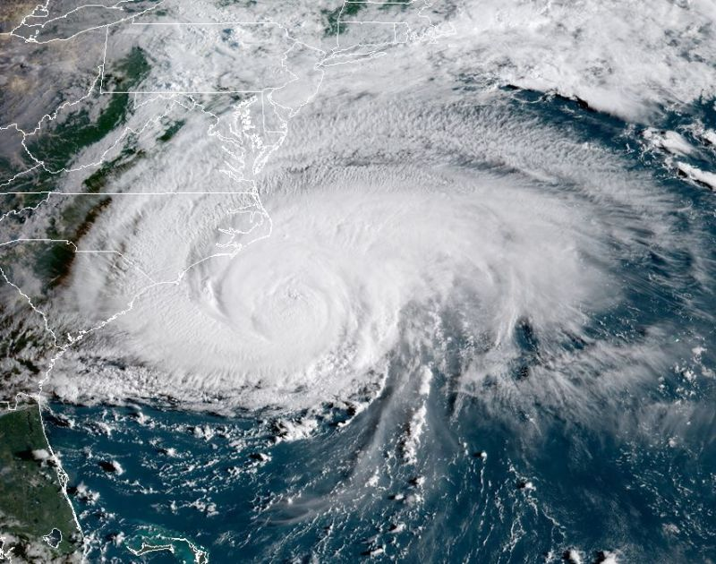 At 8:15am ET on Thursday morning, a less organized Florence approaches the North Carolina coast.