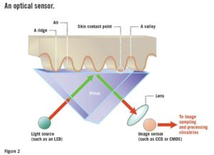 A diagram of an optical fingerprint reader.