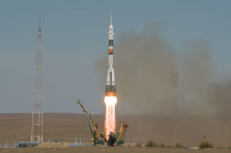 A Soyuz rocket launches with Expedition 57 Flight Engineer Nick Hague of NASA and Flight Engineer Alexey Ovchinin of Roscosmos, Thursday, October 11, 2018.