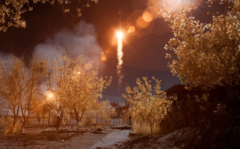 The Soyuz MS-10 spacecraft is seen in this false-color infrared image as it launched with Expedition 57 Flight Engineer Nick Hague of NASA and Flight Engineer Alexey Ovchinin of Roscosmos, on Thursday, October 11, 2018.
