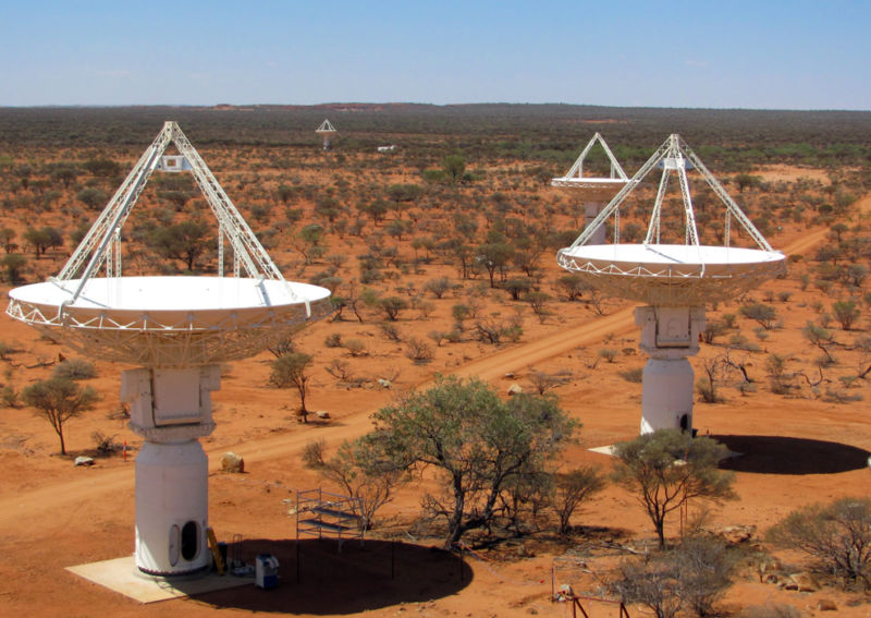 CSIRO's ASKAP antennas at the Murchison Radio-astronomy Observatory in Western Australia, 2010.