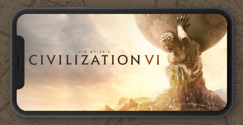 A render of <em>Civilization VI</em> running on the iPhone XS Max.