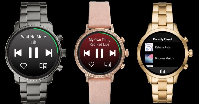 Spotify standalone Wear OS app on three Fossil smartwatch screens.