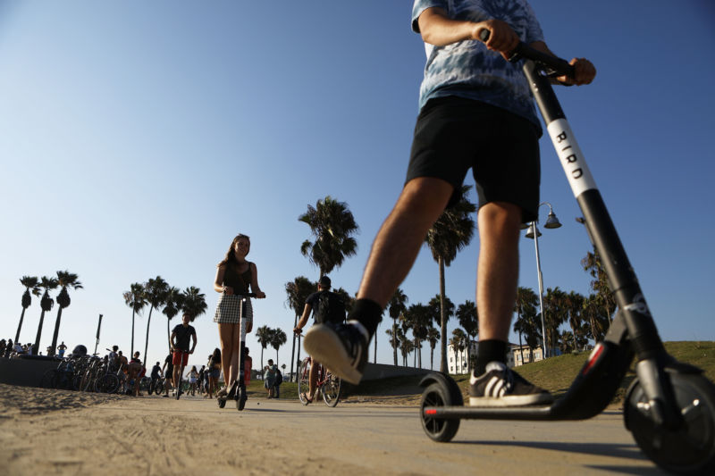 Young people ride scooters past palm trees.