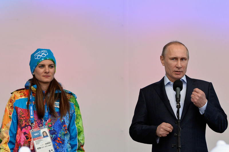 Vladimir Putin visits the Coastal Cluster Olympic Village ahead of the Sochi 2014 Winter Olympics on February 5, 2014.