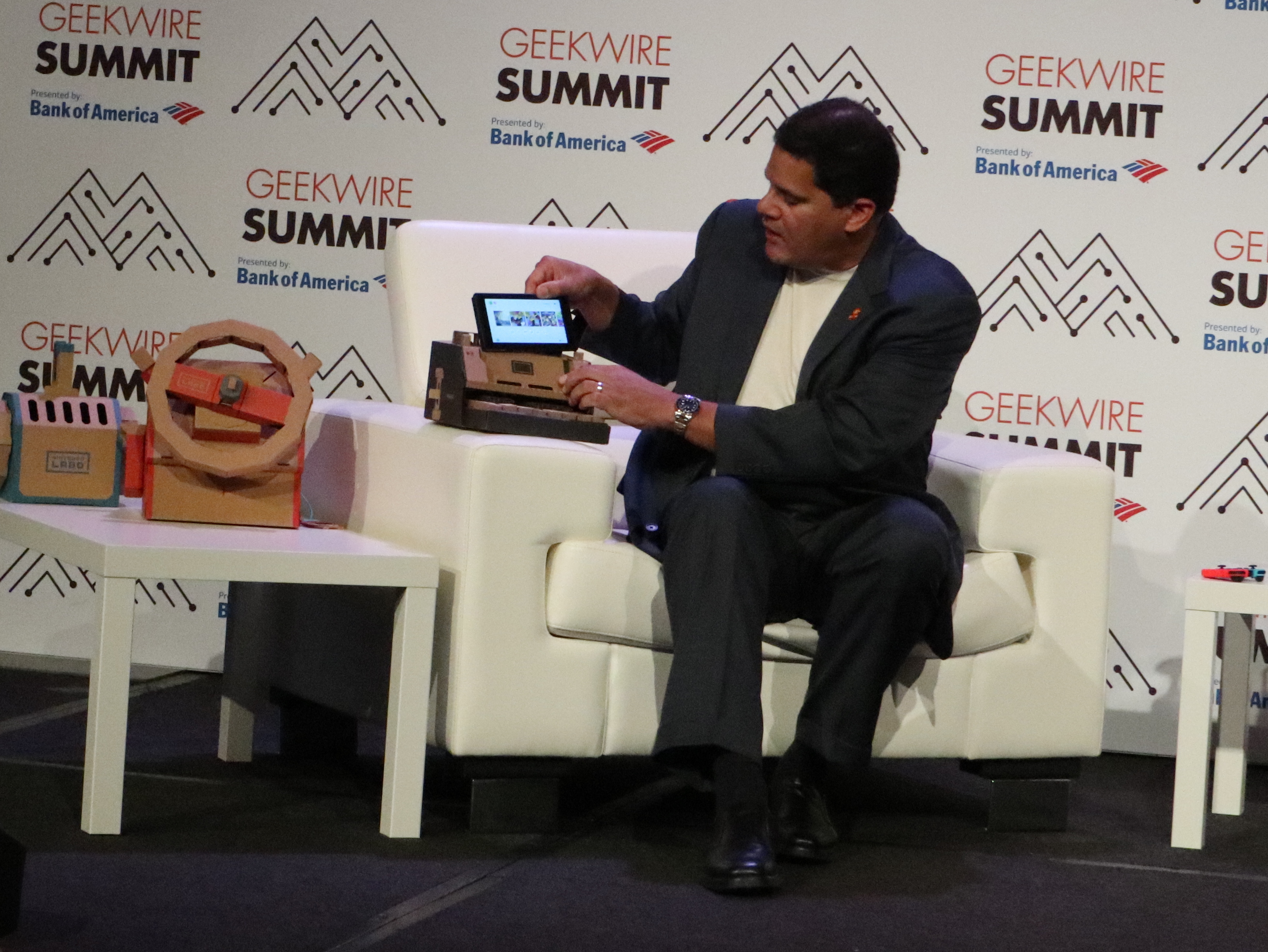 Nintendo of America President and COO Reggie Fils-Aime demonstrates how Switch hardware fits into Nintendo Labo's cardboard playsets. He didn't take the opportunity to reveal any specific sales data about the add-on series.