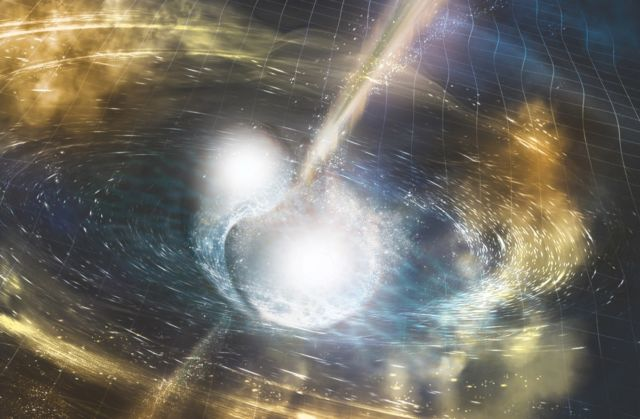 Artist's illustration of two merging neutron stars detected by the LIGO collaboration in August 2017.