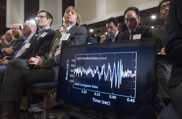 LIGO's February 11, 2016, press conference in Washington, DC, when its team announced the first direct detection of gravitational waves.