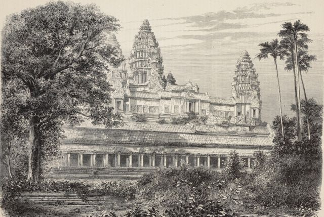 Engraving of the central temple of Angkor Wat, 1868.