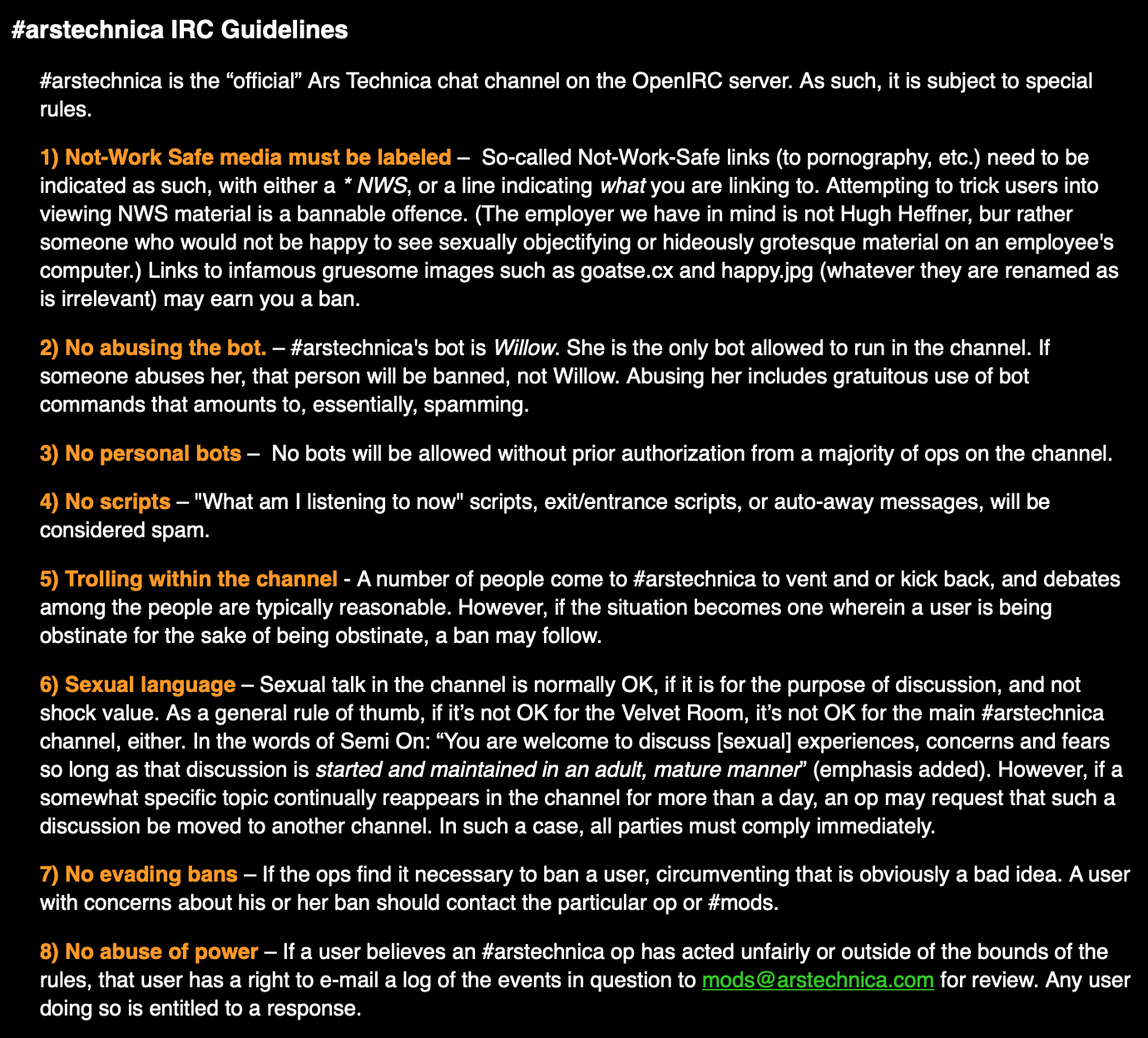 Some of the early Ars Technica IRC guidelines.